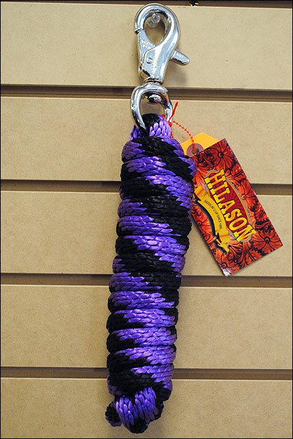 PURPLE BLACK HORSE TACK BRAIDED POLY LEAD ROPE W/ BUFFALO SNAP SOLID 5/8 X 9