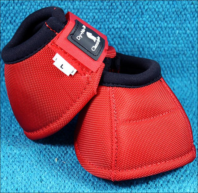 SMALL CLASSIC EQUINE DYNO HORSE NO TURN BELL BOOTS PAIR RED