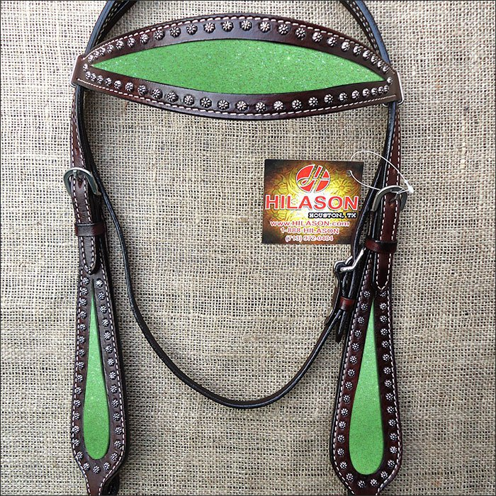 HILASON WESTERN LEATHER HORSE BRIDE HEADSTALL BROWN W/ LIME GREEN INLAY