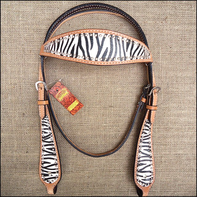 HILASON WESTERN LEATHER HORSE BRIDLE HEADSTALL ZEBRA HAND PAINT