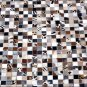 HR122 HILASON HOME DECOR COWHIIDE HAIR ON LEATHER PATCHWORK AREA RUGS CARPET