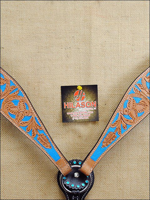 HILASON WESTERN LEATHER HORSE BREAST COLLAR LIGHT OIL W/ TURQUOISE INLAY S431