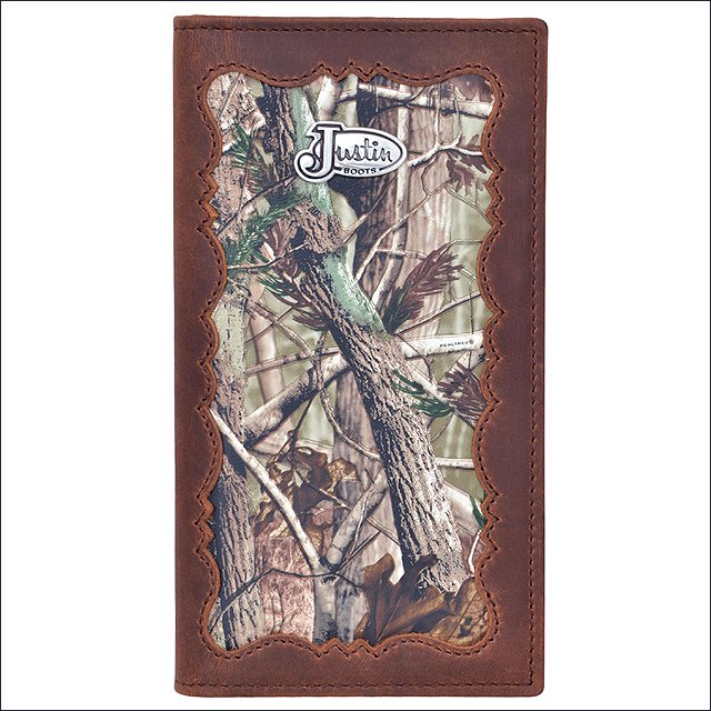 JUSTIN BROWN DISTRESSED CAMO LEATHER SHELL INLAY WESTERN RODEO MENS WALLET