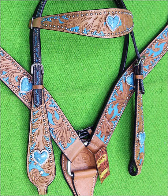 HILASON WESTERN LEATHER HORSE HEADSTALL BREAST COLLAR TAN TURQUOISE HEART CONCHO