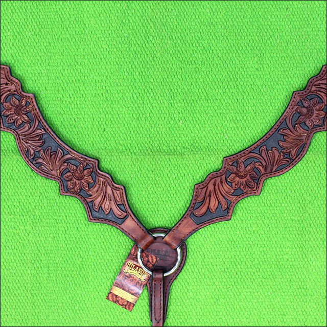 39M HILASON WESTERN LEATHER HORSE BREAST COLLAR MAHOGANY HAND CARVED