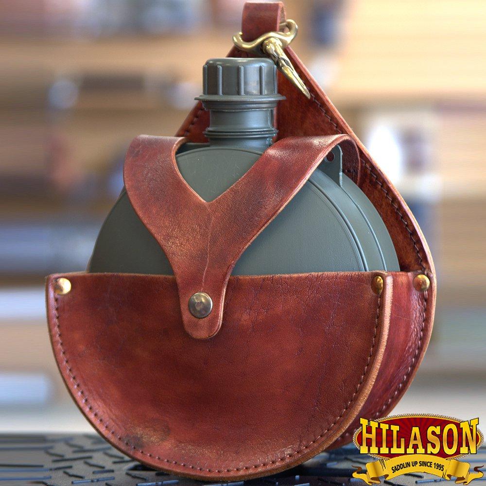BG152MRED-F HILASON MAHOGANY TOP GRAIN LEATHER PLAIN 2 QUART CANTEEN HOLSTER BAG