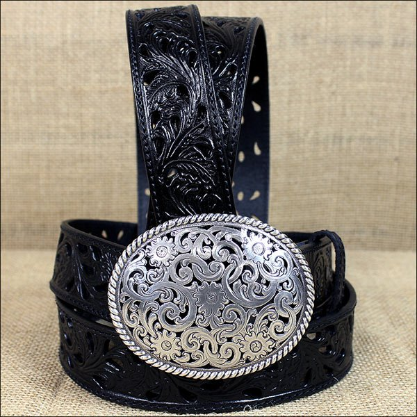 34 inch C523 TONY LAMA BLACK PIERCED FILIGREE TROPHY WESTERN LEATHER LADIES BELT
