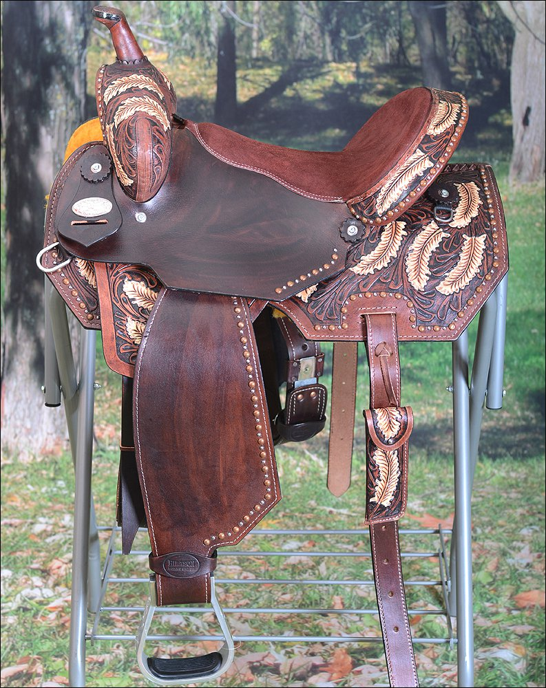BH107-F HILASON WESTERN LEATHER BARREL RACING TRAIL PLEASURE RIDING SADDLE 15""
