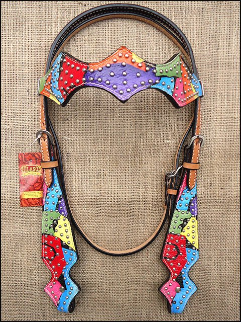 HILASON WESTERN LEATHER HORSE BRIDLE HEADSTALL HAND PAINT RAINBOW