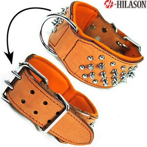 F-DC104 Tan Leather Spiked Studded Dog collar Sz- MED