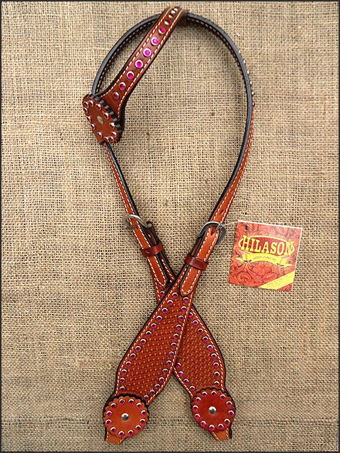 S02M HILASON WESTERN LEATHER HORSE ONE EAR BRIDLE HEADSTALL MAHOGANY RHINESTONES