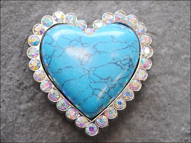 SET OF 2 TURQUOISE HEART SHAPE NICKLE RHINESTONE CONCHOS BLING HEADSTALL TACK