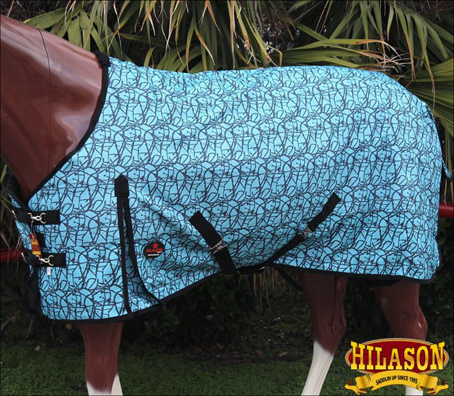 69 in HILASON 1200D RIPSTOP WATERPROOF POLY TURNOUT HORSE WINTER SHEET TURQUOISE