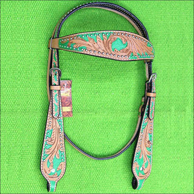 HILASON WESTERN LEATHER HORSE BRIDLE HEADSTALL TAN GREEN HAND PAINT