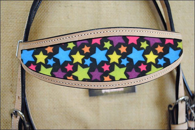 HILASON WESTERN LEATHER HORSE BRIDLE HEADSTALL TAN W/ STAR INLAY