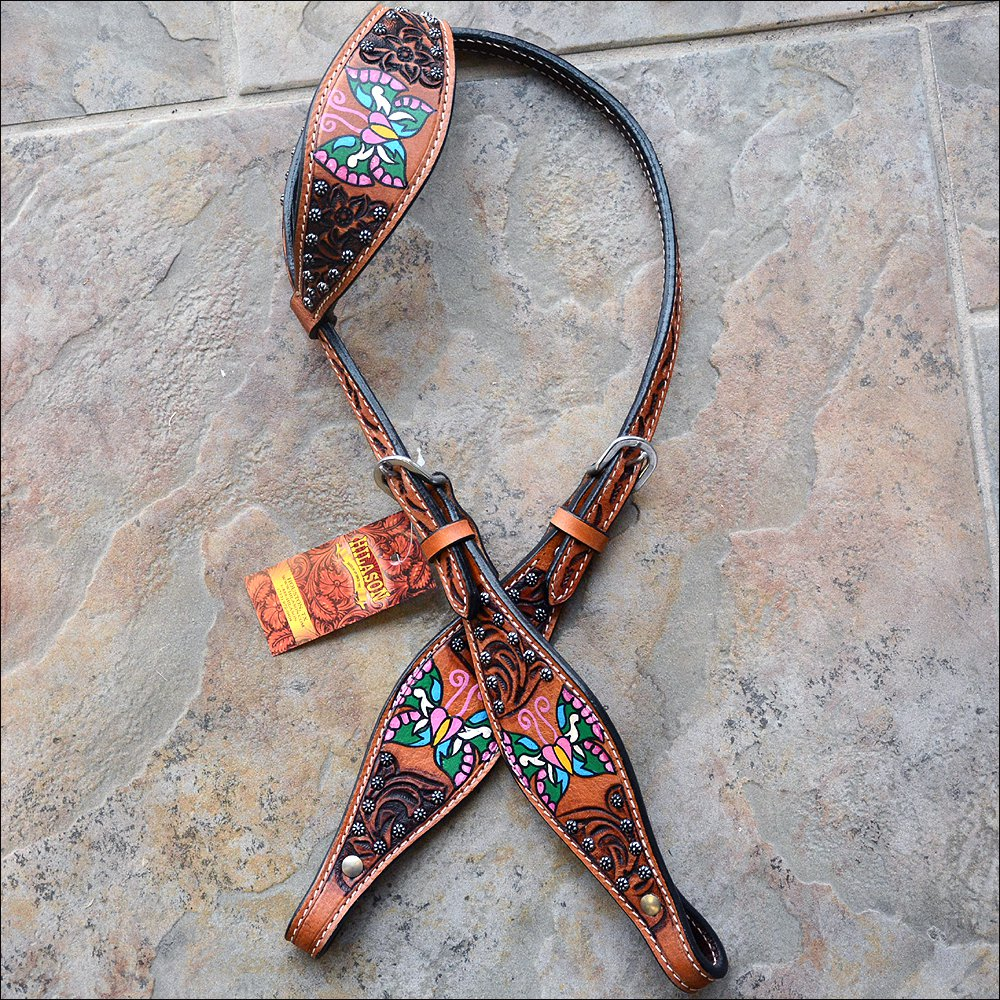 S8 HILASON WESTERN LEATHER HORSE ONE EAR HEADSTALL BROWN W/ HAND PAINT BUTTERFLY