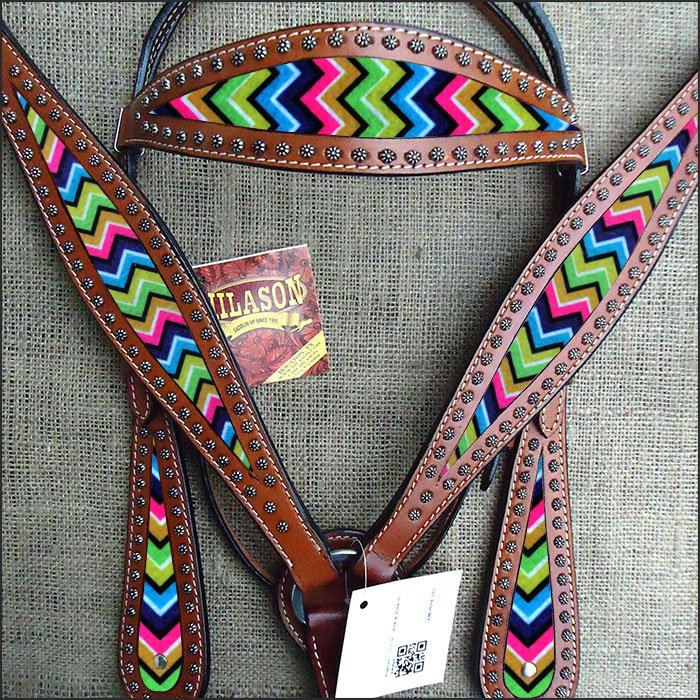 HILASON WESTERN LEATHER HORSE HEADSTALL BRIDLE BREAST COLLAR MAHOGANY AZTEC