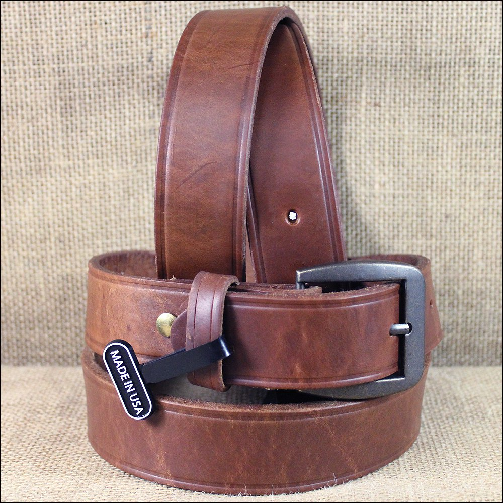 "42 X 1 1/2"" 3D BROWN MENS WESTERN BASIC LEATHER BELT REMOVABLE BRASS BUCKLE"