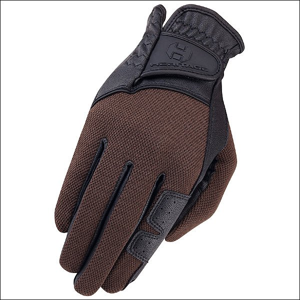 08 SIZE HERITAGE X-COUNTRY GLOVE HORSE RIDING LEATHER STRETCHABLE BLACK BROWN