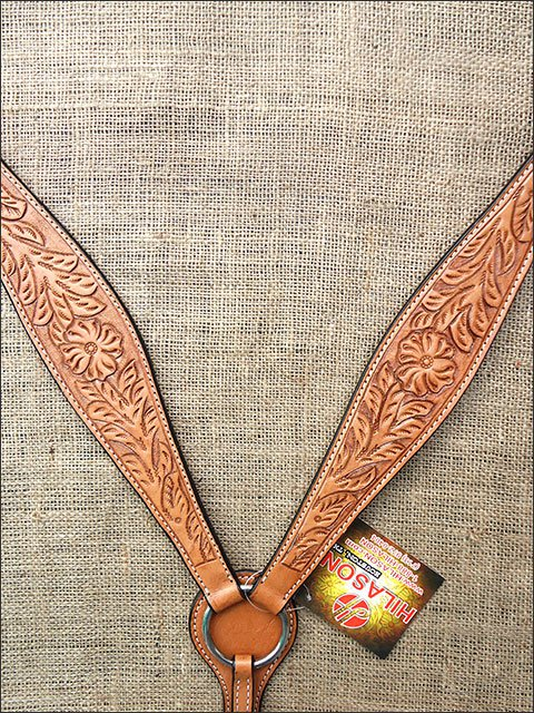 S442 HILASON WESTERN HAND TOOL FLORAL LEATHER HORSE BREAST COLLAR - LIGHT OIL