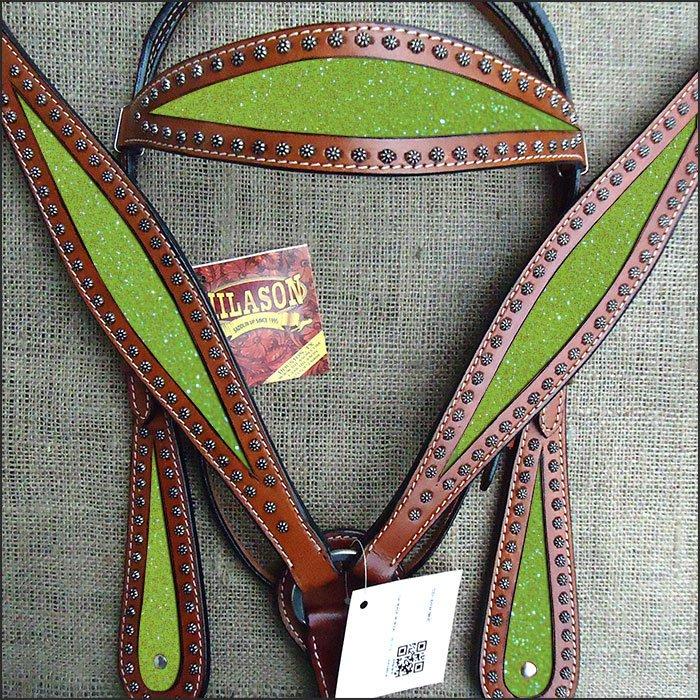 HILASON WESTERN LEATHER HORSE HEADSTALL BRIDLE BREAST COLLAR MAHOGANY YELLOW