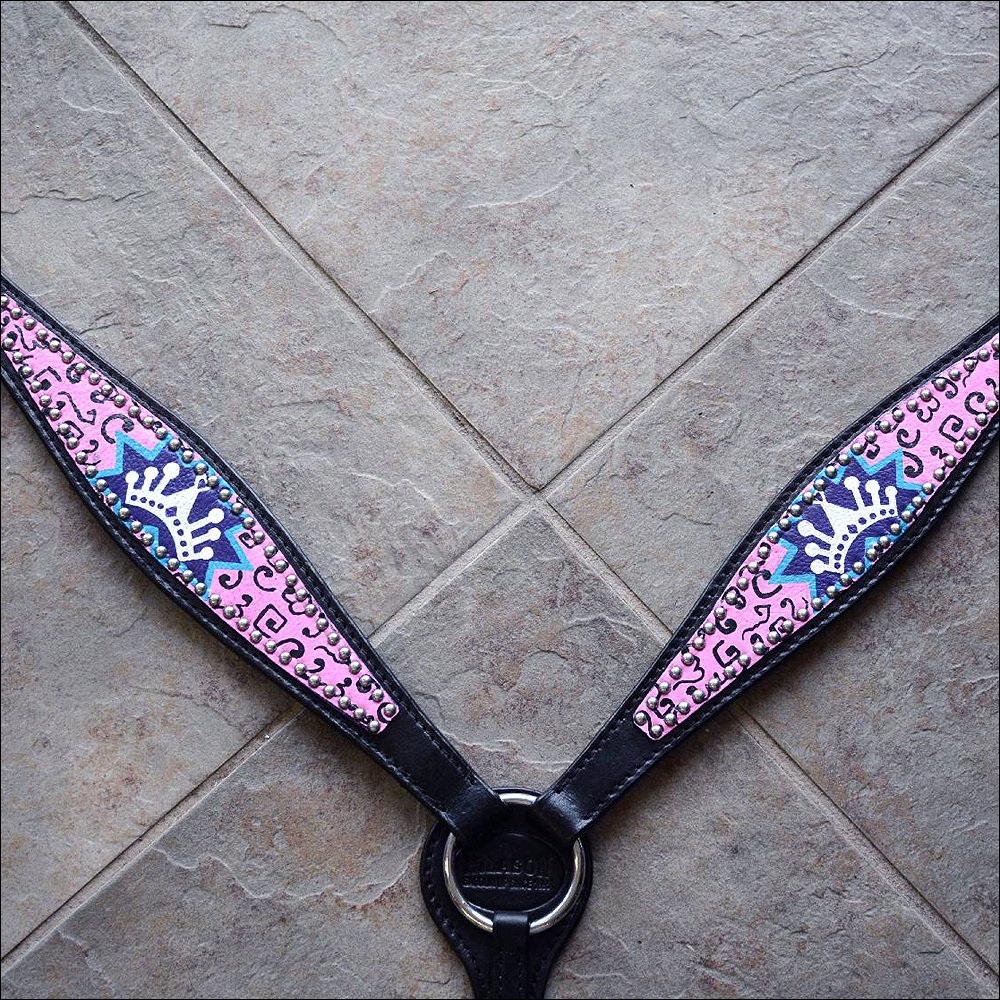 HILASON WESTERN LEATHER HORSE BREAST COLLAR BLACK PINK CROWN