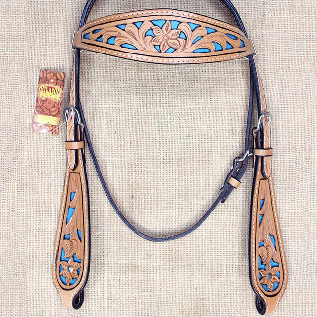 HILASON WESTERN LEATHER HORSE BRIDLE HEADSTALL TAN TURQUOISE INLAY