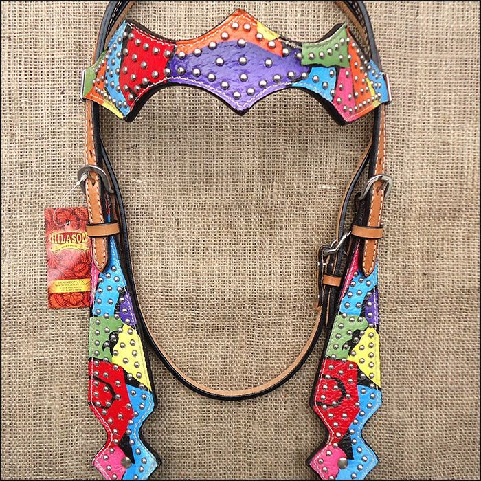 V1 HILASON WESTERN LEATHER HORSE BRIDLE HEADSTALL HAND PAINT RAINBOW
