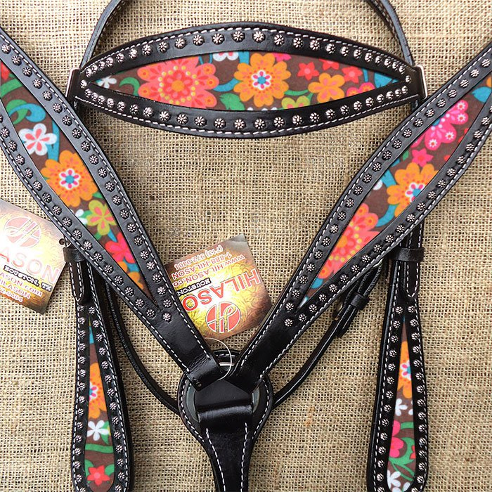 HILASON WESTERN LEATHER HORSE HEADSTALL BREAST COLLAR BLACK W/ FLORAL INLAY