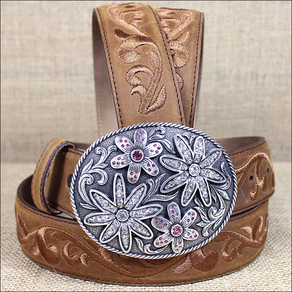 38 inch C279 JUSTIN BROWN GARDEN TRAILS LADIES LEATHER BELT COWGIRL WESTERN SHOW
