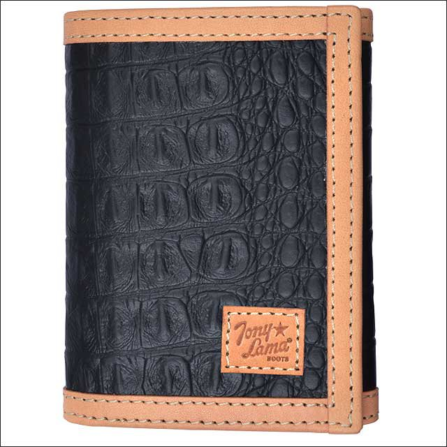 TONY LAMA BLACK LEATHER TRIM WESTERN TRIFOLD MENS WALLET NATURAL GATOR PRINT