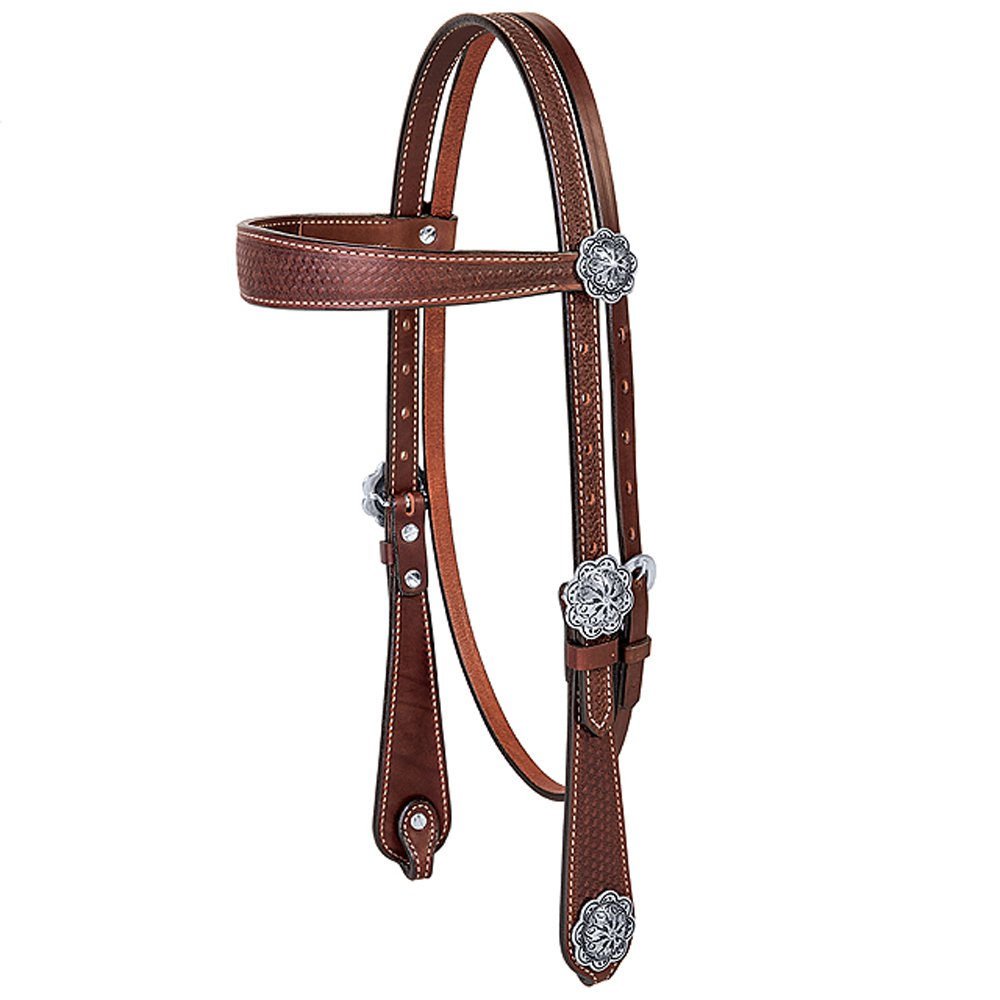 WEAVER BASIN COWBOY ENGLISH BRIDLE LEATHER BROWBAND HEADSTALL BROWN