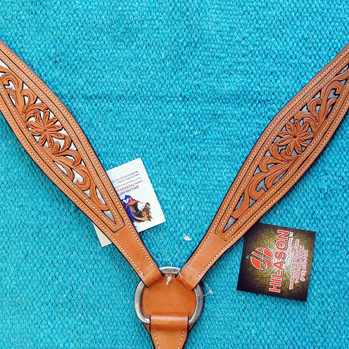 V1 HILASON LEATHER WESTERN HORSE BREAST COLLAR TAN FLORAL HAND CARVED