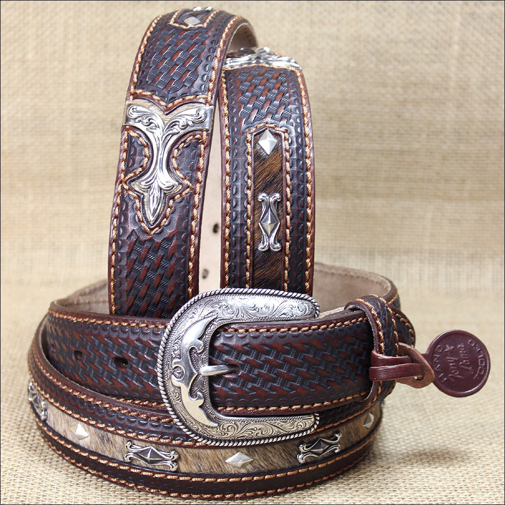 32 inch TONY LAMA TAN LEATHER DIAMOND RIVER WESTERN MEN BELT