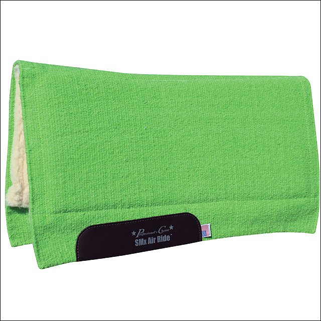 PROFESSIONAL CHOICE COMFORT FIT SMX AIR RIDE HORSE WOOL SADDLE PAD LIME GREEN