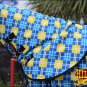 "78"" HILASON 1200D WATERPROOF POLY TURNOUT HORSE BLANKET NECK COVER BLUE YELLOW"