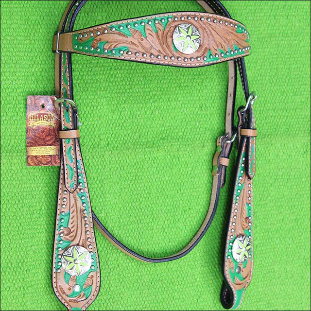 HILASON WESTERN LEATHER HORSE HEADSTALL BRIDLE TAN GREEN HAND PAINT CONCHO BLING