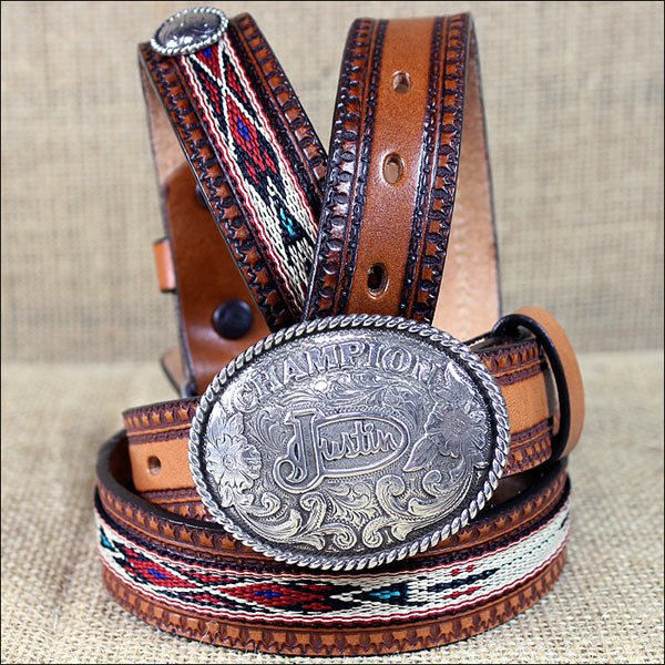812TN 20 inch JUSTIN BOY'S TAN WESTERN LEATHER RIBBON BELT COWBOY