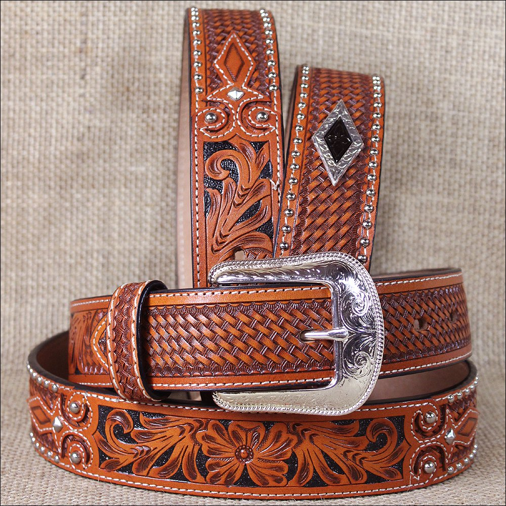 "36x1 1/2"" 3D NATURAL MENS WESTERN FASHION LEATHER FLORAL BELT REMOVABLE BUCKLE"