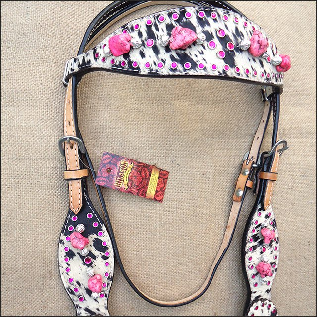 HILASON WESTERN LEATHER HORSE HEADSTALL BRIDLE COWHIDE w/ PINK STONE