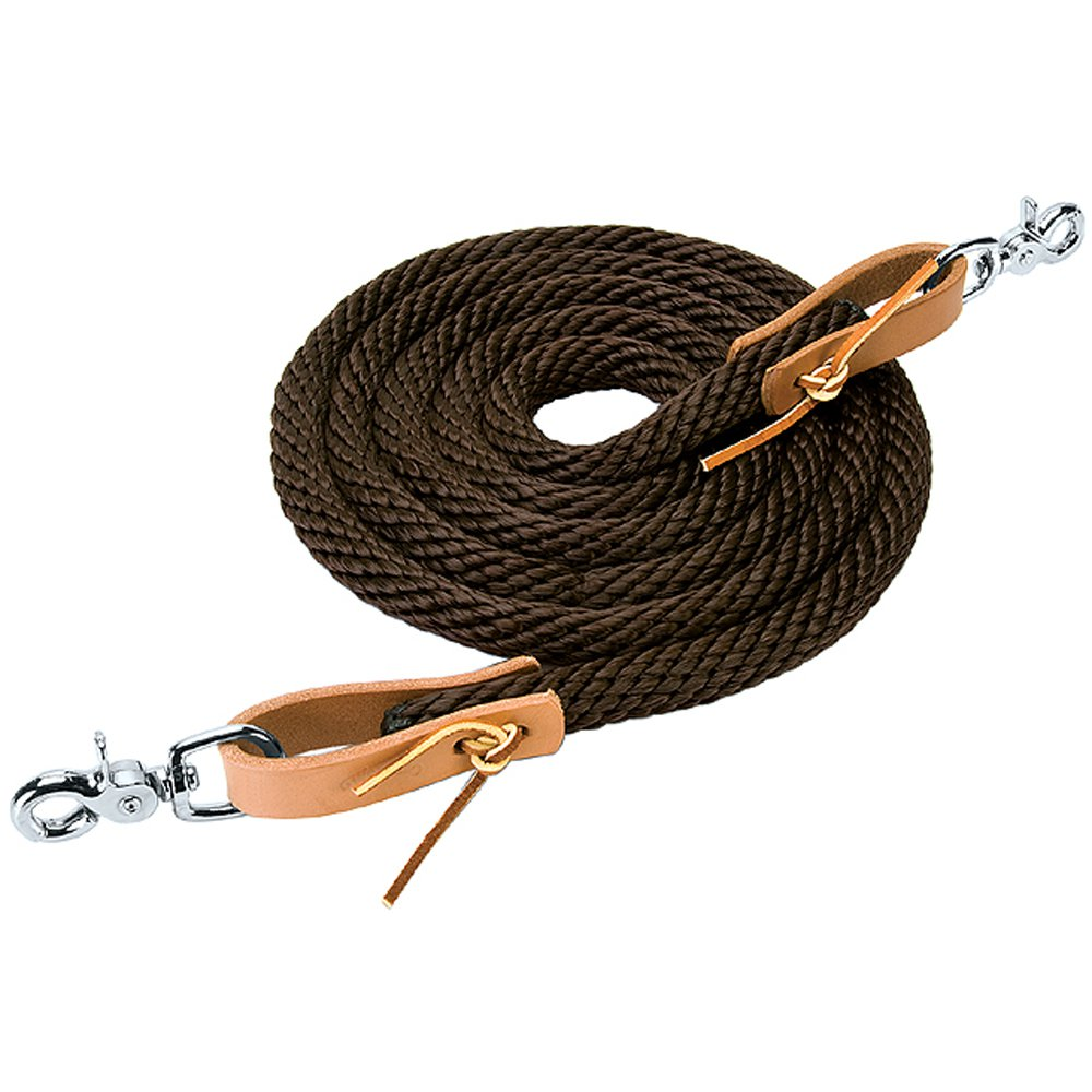 """3/8"""" X 8' WEAVER LEATHER ENDS POLY ROPER REIN W/ SCISSOR SNAP BROWN"""