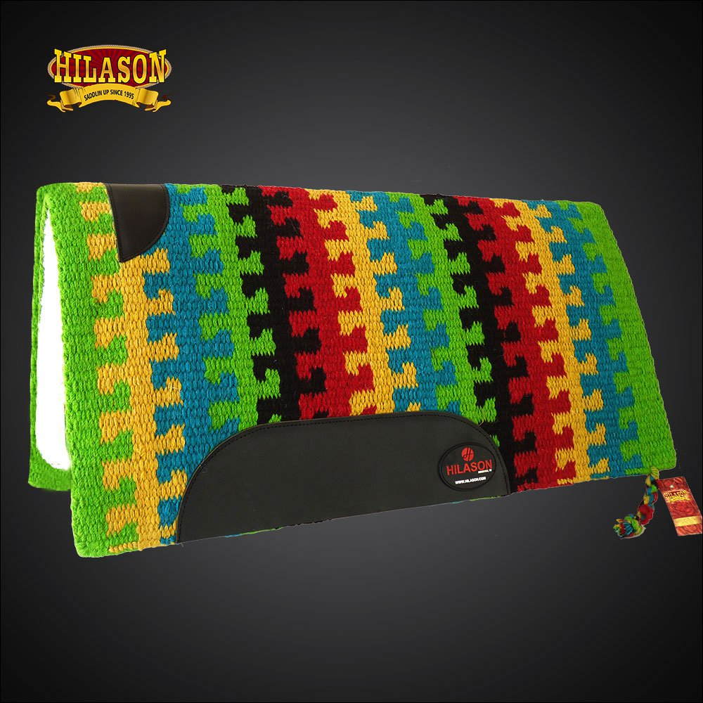 MADE USA HILASON WESTERN WOOL SHOCK BUSTER SADDLE BLANKET PAD GREEN YELLOW BLUE