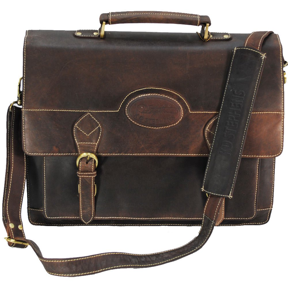 KD STEPHENS COFFEE BROWN LEATHER BRIEFCASE LAPTOP TRAVEL LUGGAGE BAG PORTFOLIO