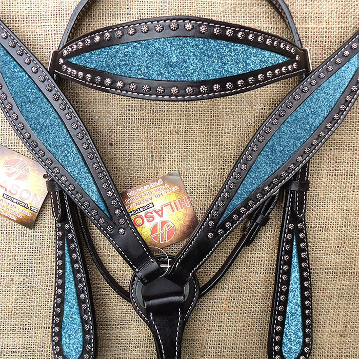 HILASON WESTERN LEATHER HORSE BRIDLE HEADSTALL BREAST COLLAR BLACK TURQUOISE