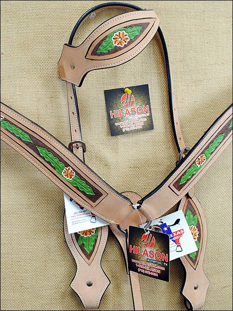HILASON WESTERN LEATHER HORSE HEADSTALL BRIDLE BREAST COLLAR TAN HAND PAINT