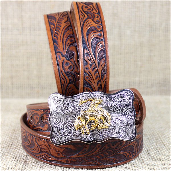 0189B 24 x 1 INCH JUSTIN TAN WESTERN EMBOSSED COWHIDE LEATHER CHILD BELT