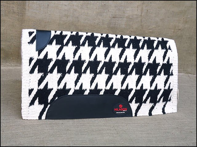 FEP231 HILASON SHOW NEW ZEALAND WOOL SADDLE BLANKET WESTERN BLACK WHITE