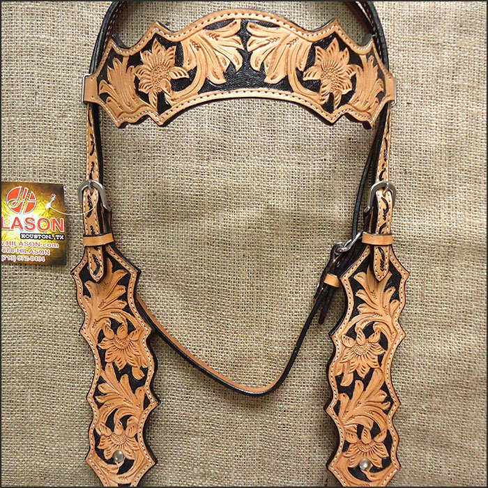 V1 HILASON WESTERN LEATHER HORSE BRIDLE HEADSTALL TAN W/ BLACK INLAY