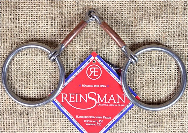 REINSMAN STAGE A TRADITIONAL LOOSE RING 3/8 INCH SMOOTH COPPER HORSE SNAFFLE BIT