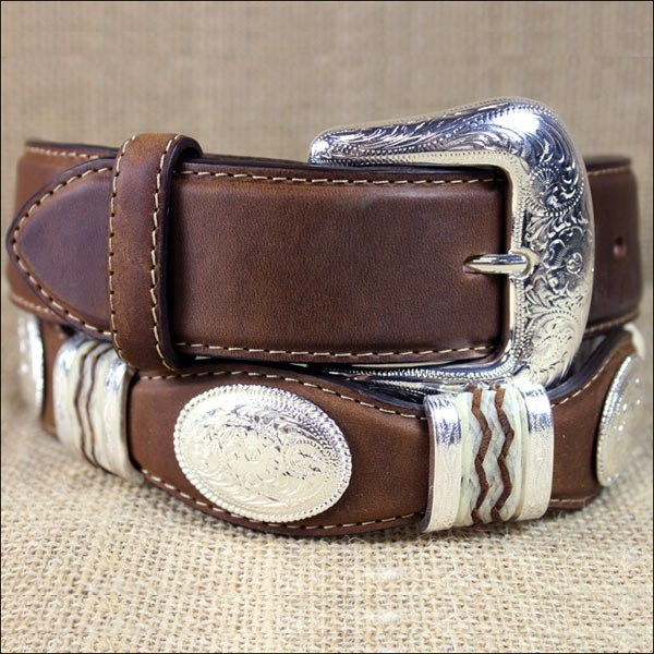9119L TONY LAMA BARK BROWN CUTTING CHAMP SCALLOP WESTERN LEATHER MEN'S BELT